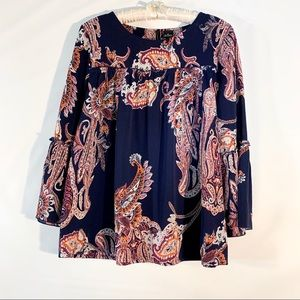 Bell sleeve top/ tunic with boho print.